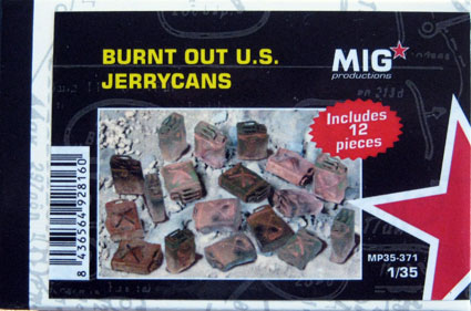 Burnt out U.S. jerrycans